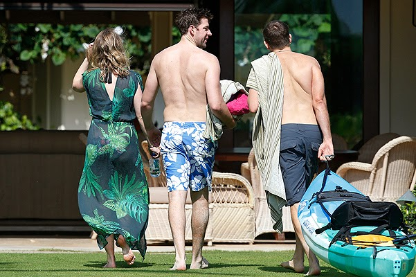 Bradley Cooper, Emily Blunt and John Krasinski in Hawaii