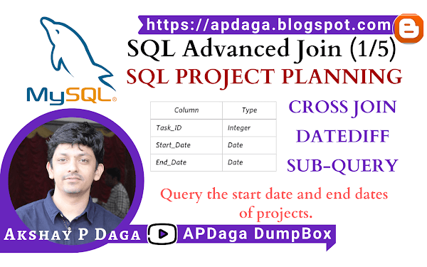 HackerRank: [SQL Advanced Join] (1/5) SQL PROJECT PLANNING | cross join, datediff & Sub-Query in SQL