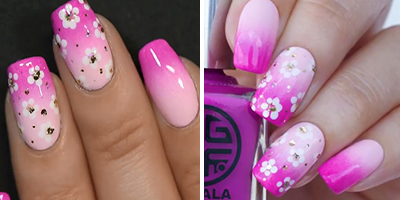 finalizando as unhas decoradas com flores