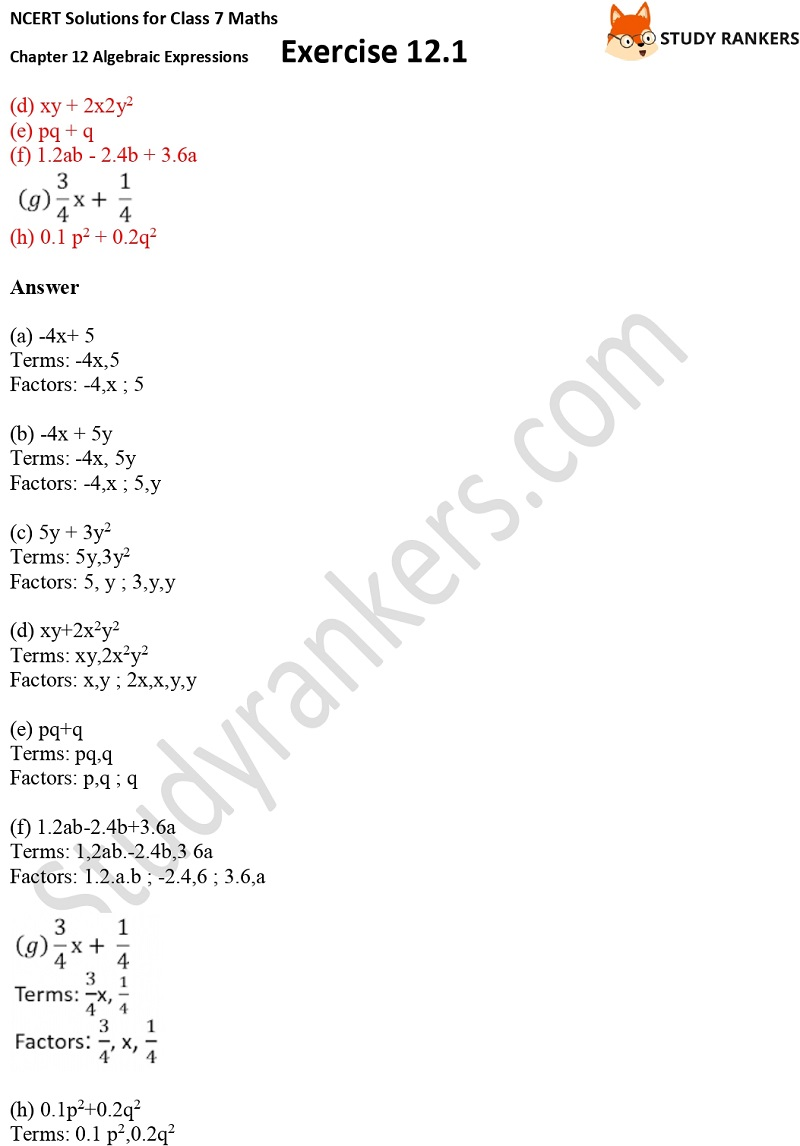 NCERT Solutions for Class 7 Maths Ch 12 Algebraic Expressions Exercise 12.1 3