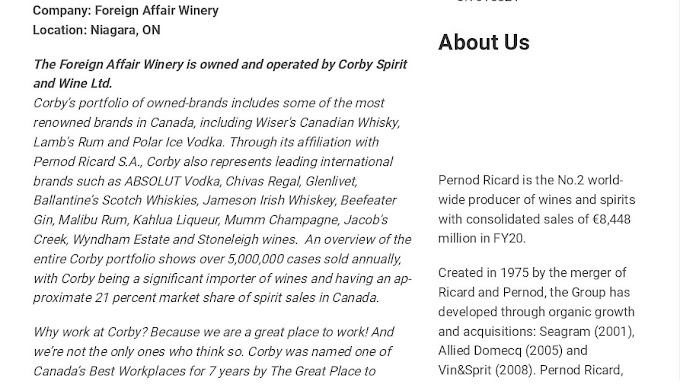 Jobs in Canada for Cellar Hand