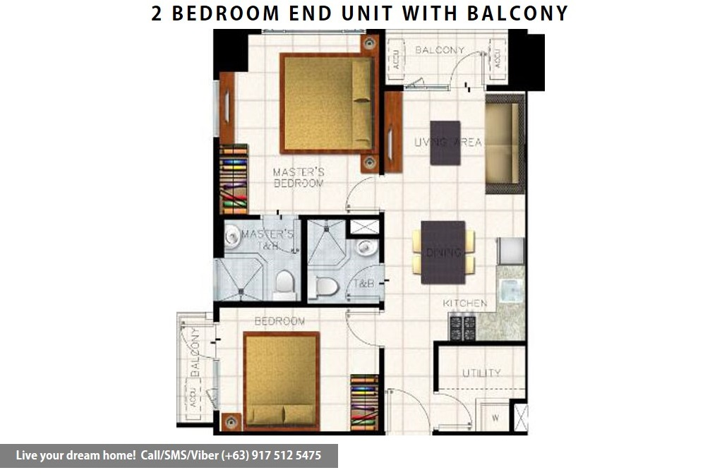 Floor Plan of SMDC S Residences - 2 Bedroom End Unit With Balcony | Condominium for Sale SM Mall of Asia Pasay
