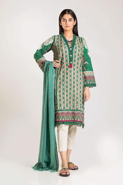 khaadi winter unstitched green color shirt shawl dress