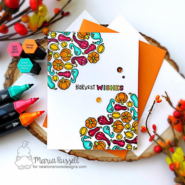 Harvest Wishes One Layer Card by Maria Russell   Heartfelt Gourds Stamp Set by Newton's Nook Designs #newtonsnook