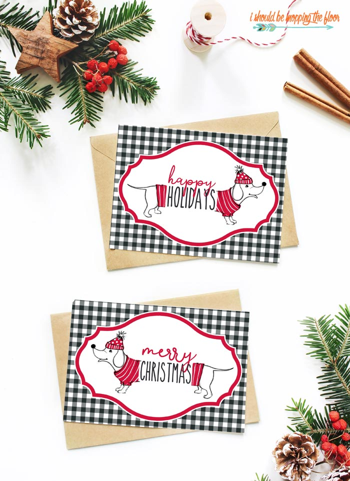 Free Printable Dachshund Christmas Cards