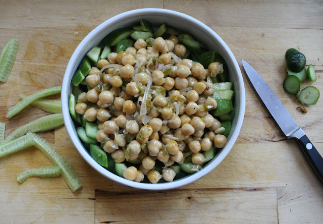Food Lust People Love: Chickpeas are fabulous for absorbing seasonings when warm, which adds such flavor to dishes like this spicy cucumber chickpea salad.