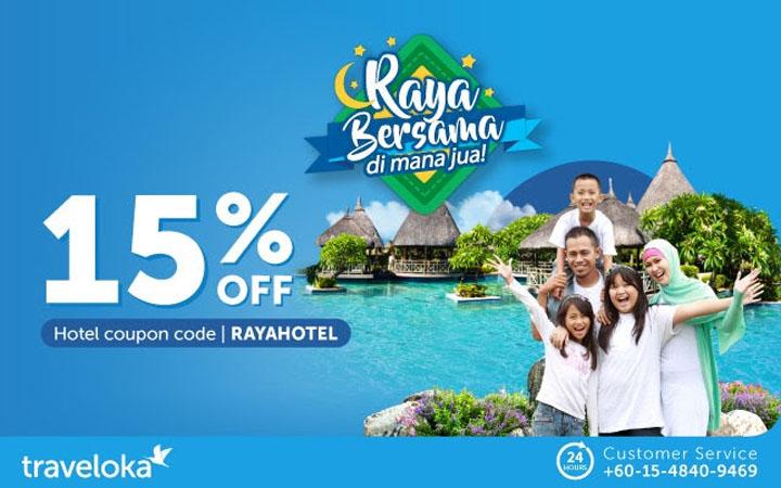 Traveloka Beri Diskaun Hotel Raya 15%