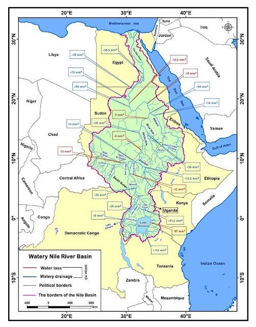 خريطة حوض نهر النيل