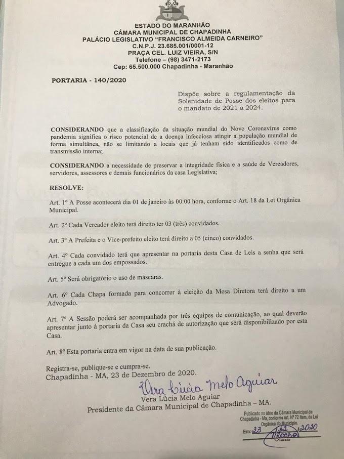 Portaria da Câmara Municipal de Chapadinha sobre cerimônia de posse em 1° de Janeiro de 2021