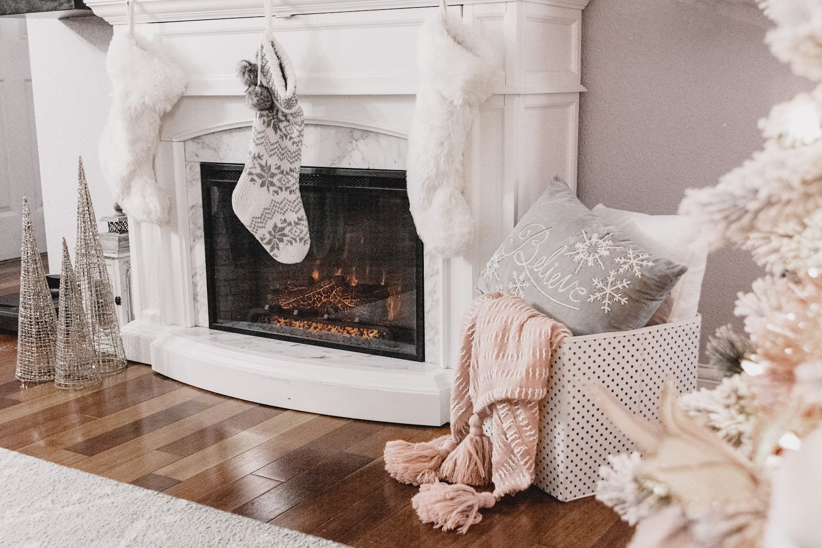 Holiday Giving to St. Jude with Gordmans  Christmas Decor Mantle Decor Holiday Gift Ideas Blush White Gray Fireplace Believe Pillow Blanket Cone Trees Silver and Gold Cozy Stockings Fur Stockings Knit Stockings