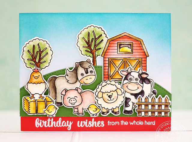 Sunny Studio Stamps: Barnyard Buddies Farm Animal Themed Birthday Card by Lexa Levana