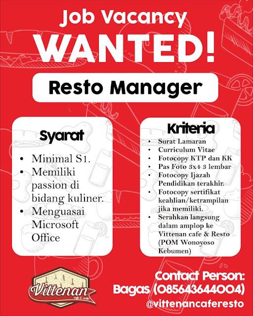 Lowongan Manager Vittenan Resto