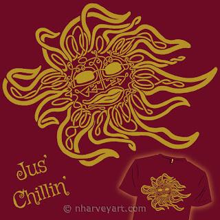"""Jus' Chillin'""(cranberry) Submission digital art, Celtic knot sun"