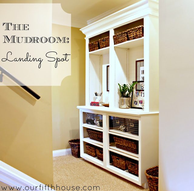 Bookcase To Mudroom Storage
