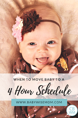 When to Move baby to a 4 Hour Schedule. Once your baby is happily eating every three hours and you seem to always need to wake her up to eat, it may be time to move from a three hour schedule to the four hour schedule.