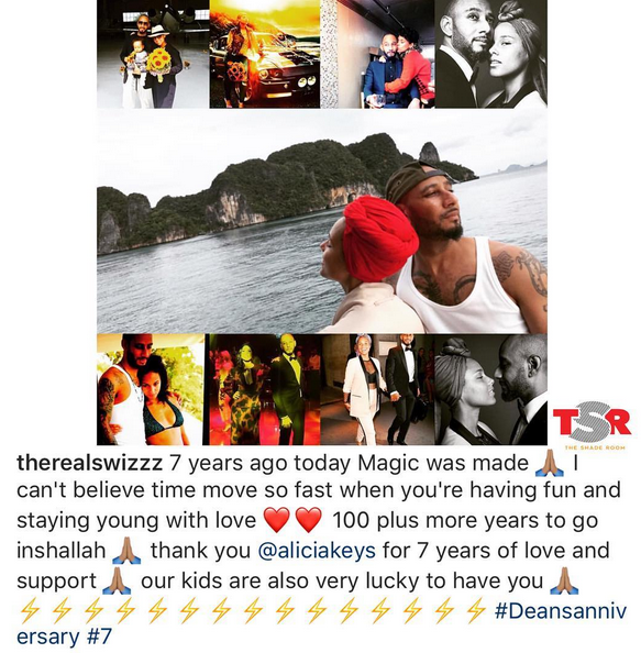 Swizz Beatz and Alicia Keys celebrate 7 years of marriage