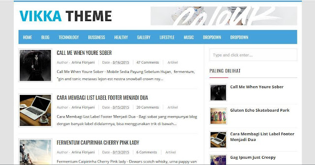 Vikka Theme - Template Blog Simple Sederhana Gratis