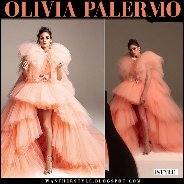 Olivia Palermo in peach pink tulle gown editorial hola fashion giambattista valli