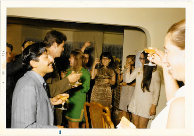 Vintage mystery photograph of a cocktail party in late 1960's San Francisco. Gerri Ganter.