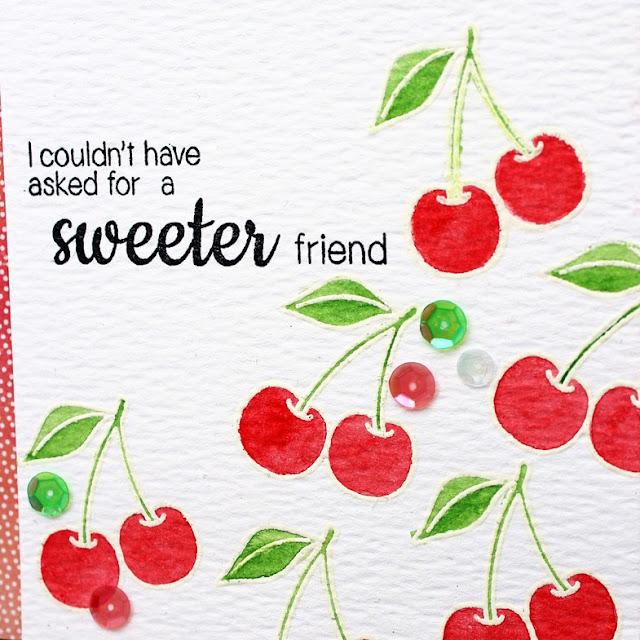 Sunny Studio Stamps: Fresh & Fruity Sweet Friend Cherries Watercolor Card by Vanessa Menhorn.