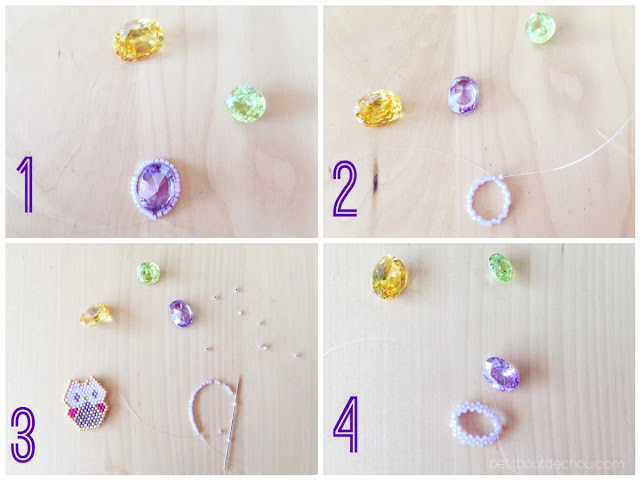 Gem stone bezel with seed beads steps 1 to 4