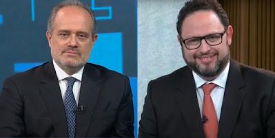 Os jornalistas Marcello D'Angelo e Eduardo Castro (Reprodução/BandNews TV)