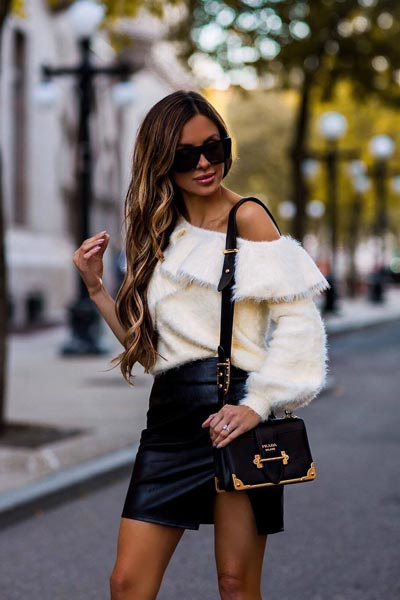 17 Fall Outfit Inspo That Will Make You Love This Season | Sweater+ Leather Skirt+ Gucci Shoulder Bag+ Steve Madden Daisie Boots