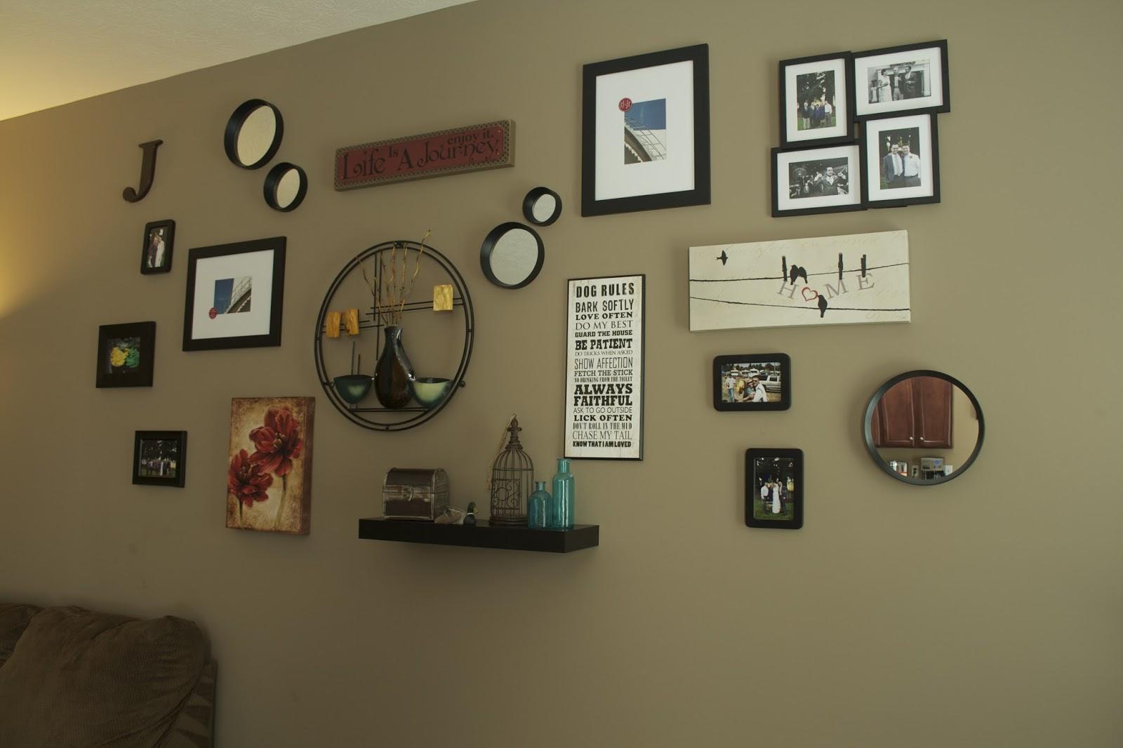 Oregon transplant home decor living room wall collage - Family room wall decor ...