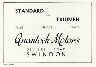 Quantock Motors advert from The Vagabond King Programme - 1954