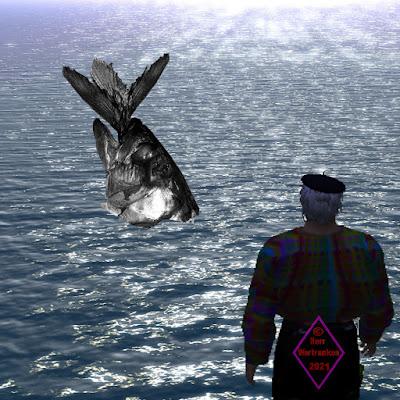 Meer, mittlere Dühnung, von schräg oben betrachtet. Vordergrund rechts steht betrachtend aufs Wasser ein Mann.  In der mittleren Bildtiefe kommt ein überdimensionaler Fischkopf aus dem Meer, aus dessen Maul ein Fischschwanz heraus ragt.