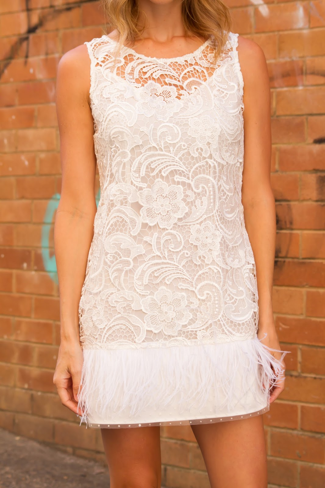 fashion blogger, Alison Hutchinson, is wearing a lace and feather dress from Dezzal