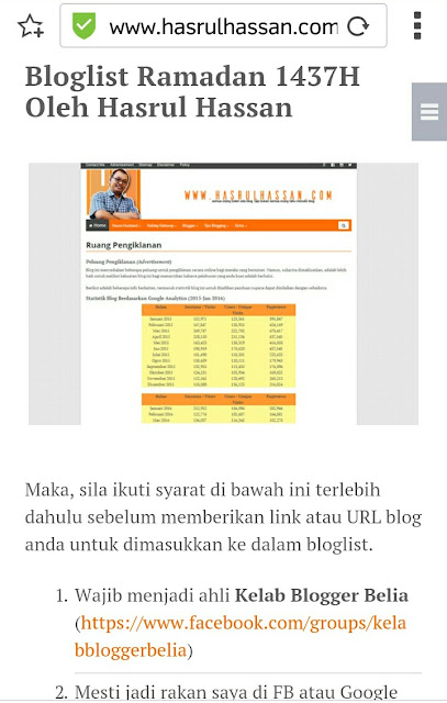 Kenapa Bloglist Blogger Hasrul Hassan