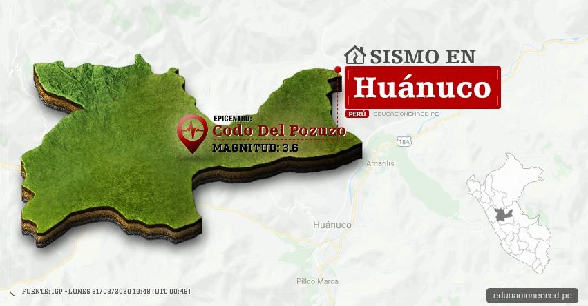 Temblor en Huánuco de Magnitud 3.6 (Hoy Lunes 31 Agosto 2020) Sismo - Epicentro - Codo Del Pozuzo - Puerto Inca - IGP - www.igp.gob.pe
