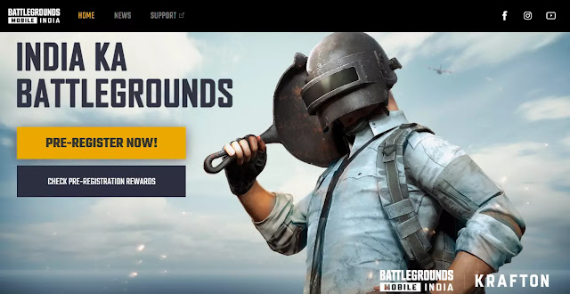 This picture is showing Battlegrounds Mobile India pre registration link