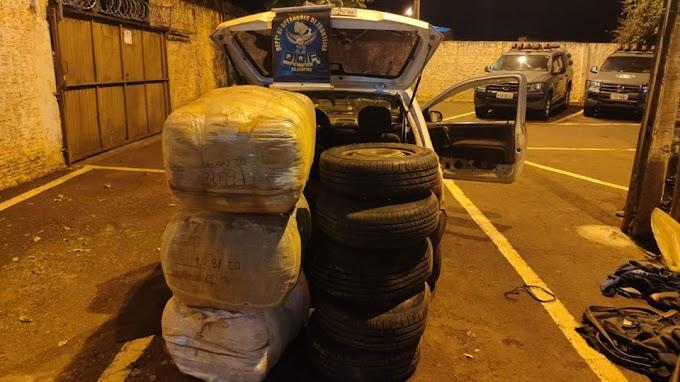 Veículo com pneus e jaquetas de origem estrangeira foi apreendido pelo DOF na região de Rio Brilhante