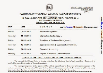 Nagpur University BCCA 1st year winter session 2014 Timetable
