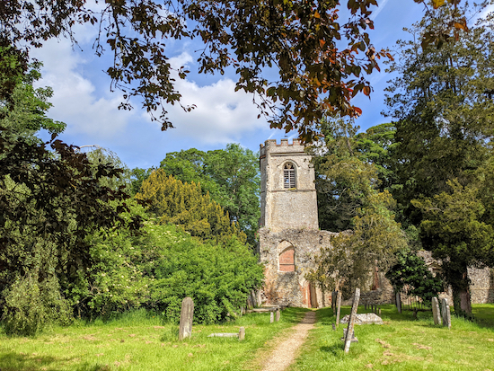 The ruins of the old church in Ayot St Lawrence