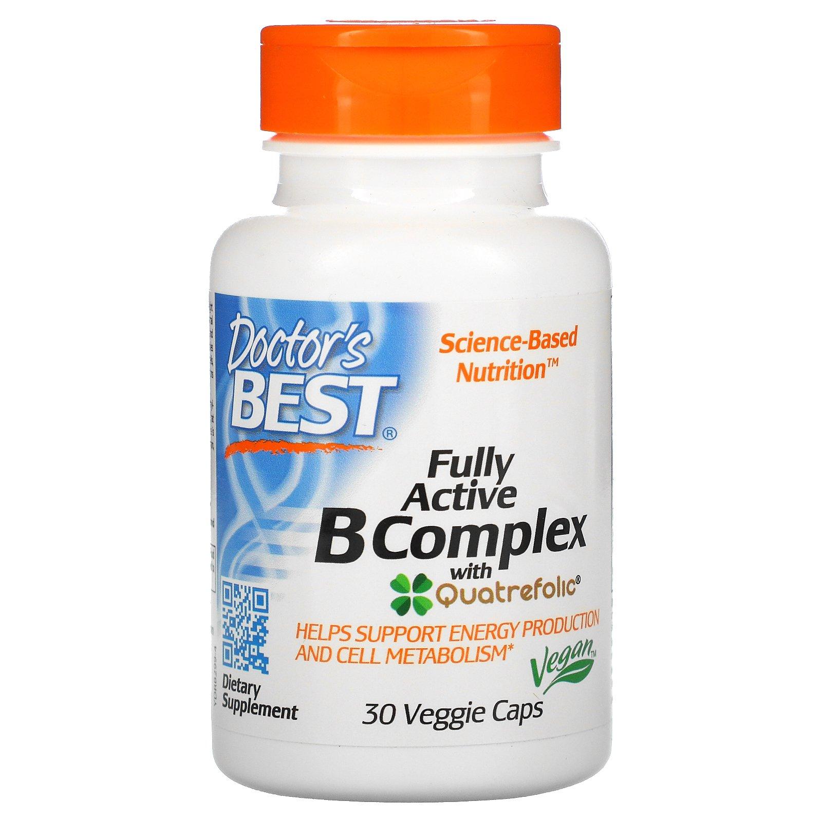 Doctor's Best, комплекс активных витаминов B с Quatrefolic, 30 вегетарианских капсул