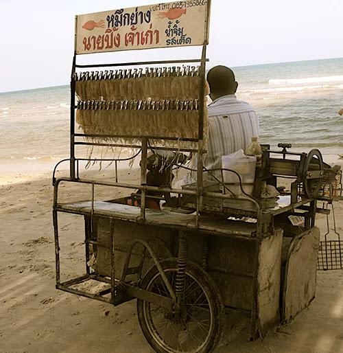 Street vendor cart on Hua Hin beach.