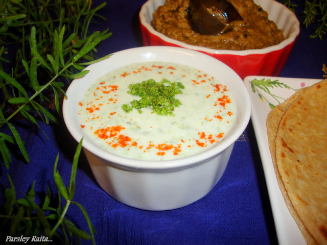 Parsley Raita / Parsley Raita Recipe / Indian Yogurt Sauce Recipe