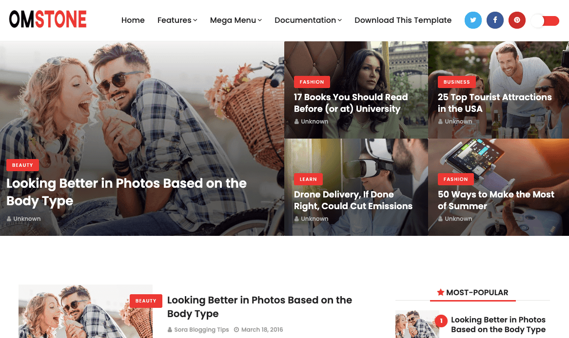 Omstone v1.0 - Responsive Magazine Blogger Template