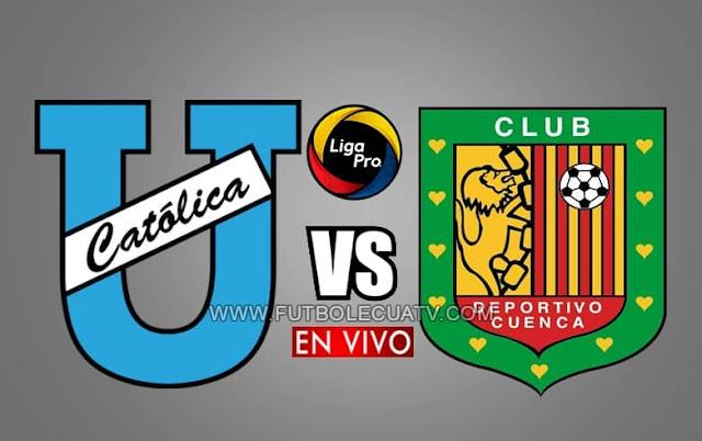 Universidad Católica choca ante Deportivo Cuenca en vivo a partir de las 19h00 hora local, por la fecha tres de la liga pro, transmitido por GolTV Ecuador (canal oficial). A efectuarse en el estadio Olímpico Atahualpa, con arbitraje principal de Mario Romero.