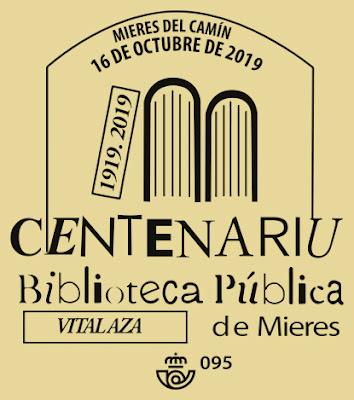 Matasellos del Centenario de la Biblioteca Pública de Mieres
