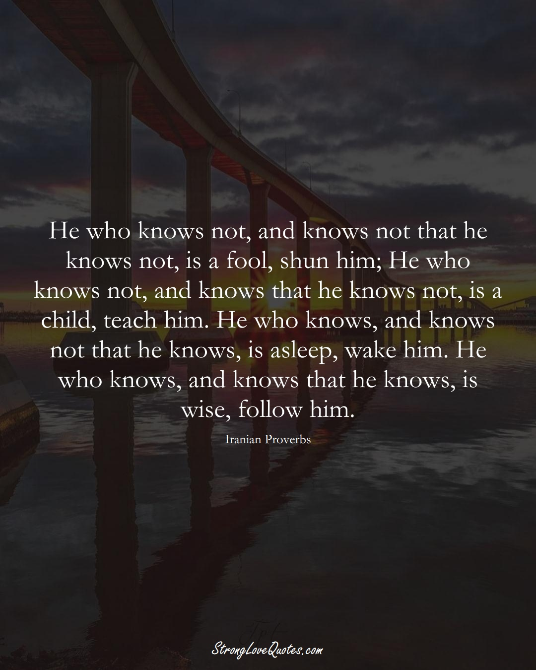 He who knows not, and knows not that he knows not, is a fool, shun him; He who knows not, and knows that he knows not, is a child, teach him. He who knows, and knows not that he knows, is asleep, wake him. He who knows, and knows that he knows, is wise, follow him. (Iranian Sayings);  #MiddleEasternSayings