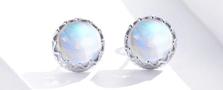 柔美人造月光石 925純銀耳環