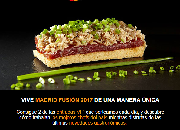 Gratis entradas para Madrid Fusion 2017