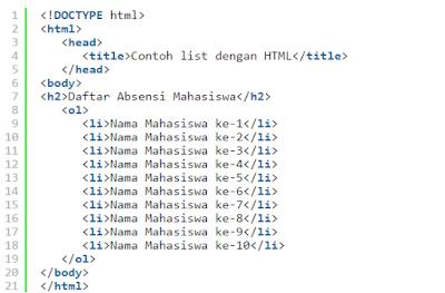 Contoh Kode HTML