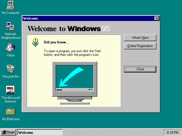 welcome to windows 95