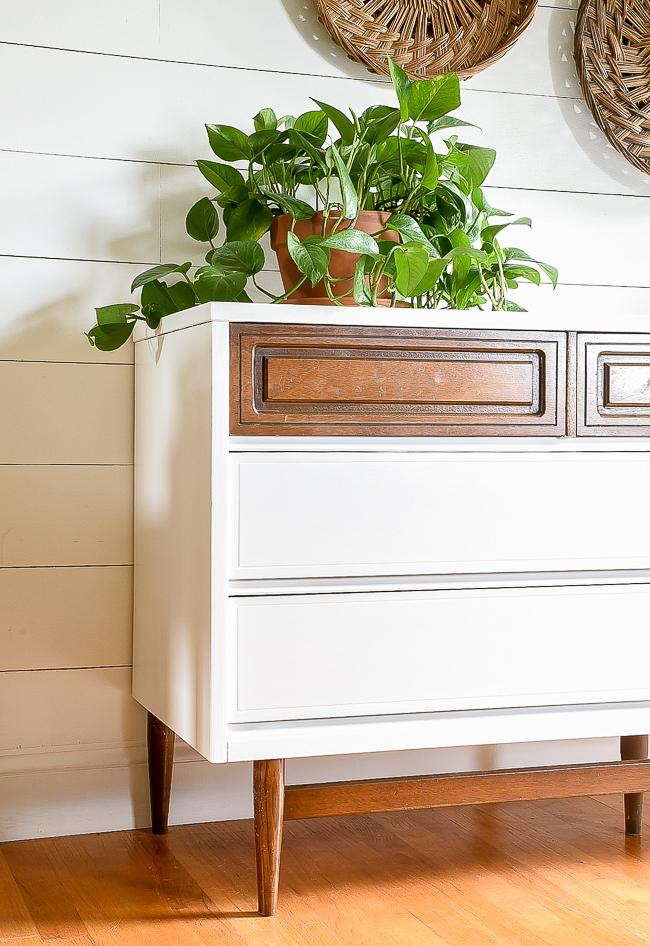 Painted vintage Bassett dresser makeover