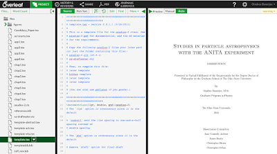 Screenshot of my working space on overleaf when writing my thesis. Left panel shows files in the project, middle panel is for editing, right panel shows typeset version or finished product